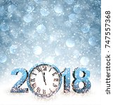 blue 2018 new year background... | Shutterstock .eps vector #747557368