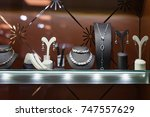 variety of jewelry in store... | Shutterstock . vector #747557629