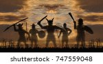 five silhouettes of giant... | Shutterstock . vector #747559048