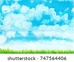 hand drawn watercolor blue sky... | Shutterstock . vector #747564406