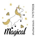 gold glitter unicorn isolated...   Shutterstock .eps vector #747570028