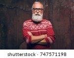 beautiful senior man bearded in ... | Shutterstock . vector #747571198