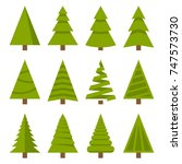 christmas trees set | Shutterstock .eps vector #747573730