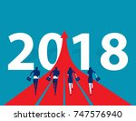 business people running to 2018.... | Shutterstock .eps vector #747576940