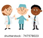 doctor  nurse and african man... | Shutterstock .eps vector #747578023