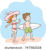 couple cartoon in beach   Shutterstock .eps vector #747582028