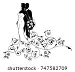 a bride and groom wedding... | Shutterstock .eps vector #747582709