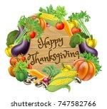 happy thanksgiving wooden sign... | Shutterstock .eps vector #747582766