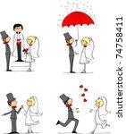 set of wedding pictures  bride... | Shutterstock .eps vector #74758411