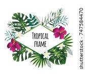 rhombus tropical frame ... | Shutterstock . vector #747584470