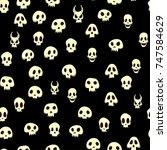 seamless halloween pattern with ...   Shutterstock . vector #747584629