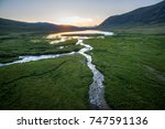Aerial View Of Sunset At The...