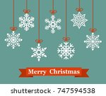christmas paper card with... | Shutterstock .eps vector #747594538