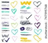 chalk vector textures....   Shutterstock .eps vector #747595768