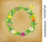 flower wreath on old paper ...   Shutterstock .eps vector #74759719