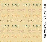 glasses  pattern vintage... | Shutterstock .eps vector #747597808
