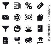 16 vector icon set   funnel ...   Shutterstock .eps vector #747600340
