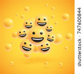 happy realistic smileys with... | Shutterstock .eps vector #747600844