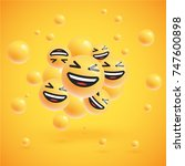 laughing realistic smileys with ... | Shutterstock .eps vector #747600898