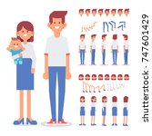 young family together   mother  ... | Shutterstock .eps vector #747601429