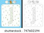worksheet for learning alphabet ... | Shutterstock .eps vector #747602194