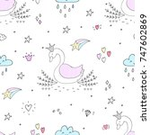 hand drawn seamless pattern... | Shutterstock .eps vector #747602869