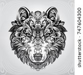 wolf head in ornament | Shutterstock .eps vector #747604300