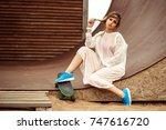 fashion portrait of blonde... | Shutterstock . vector #747616720