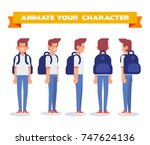 student  young guy with... | Shutterstock .eps vector #747624136