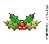christmas leaves holly berry... | Shutterstock .eps vector #747631438