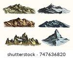 mountains peaks set vintage ... | Shutterstock .eps vector #747636820
