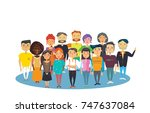 team of business pappy smiled... | Shutterstock .eps vector #747637084