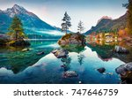 Stock photo beautiful autumn scene of hintersee lake colorful morning view of bavarian alps on the austrian 747646759