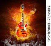 Rock Guita In Flames Of Fire