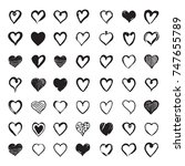 set of hand drawn hearts.... | Shutterstock .eps vector #747655789