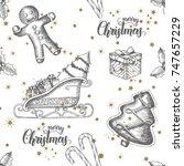 christmas seamless background...   Shutterstock .eps vector #747657229