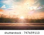 early morning concept  wooden... | Shutterstock . vector #747659113