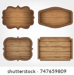 4 realistic wooden signs set.... | Shutterstock .eps vector #747659809