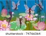illustration with lily flowers... | Shutterstock .eps vector #74766364