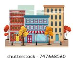 autumn city with yellow trees... | Shutterstock .eps vector #747668560