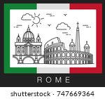 rome  italy. illustration of... | Shutterstock .eps vector #747669364