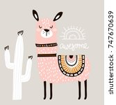 cute cartoon llama with in... | Shutterstock .eps vector #747670639