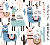 seamless pattern with llama ... | Shutterstock .eps vector #747670708