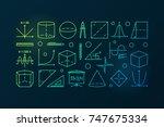 trigonometry and mathematics... | Shutterstock .eps vector #747675334