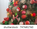 christmas decorations ... | Shutterstock . vector #747681760