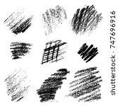 vector black monochrome chalk... | Shutterstock .eps vector #747696916