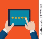 flat businessman hands giving... | Shutterstock .eps vector #747698170