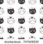 vector seamless pattern with... | Shutterstock .eps vector #747698539