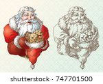 santa claus and the puppies in... | Shutterstock .eps vector #747701500