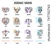 the twelve zodiac signs  aries  ... | Shutterstock .eps vector #747702763